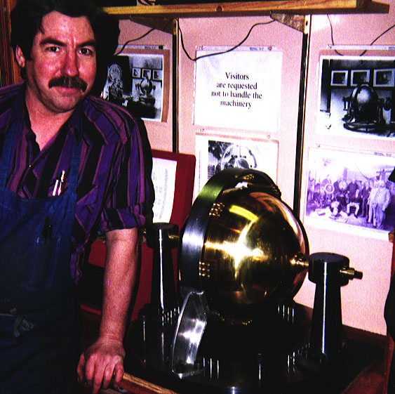 Dale Pond and his replica of Keely's Dynasphere