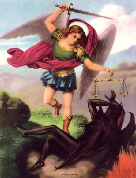 Archangel Michael Symbolically Slaying the Dragon of Ignorance