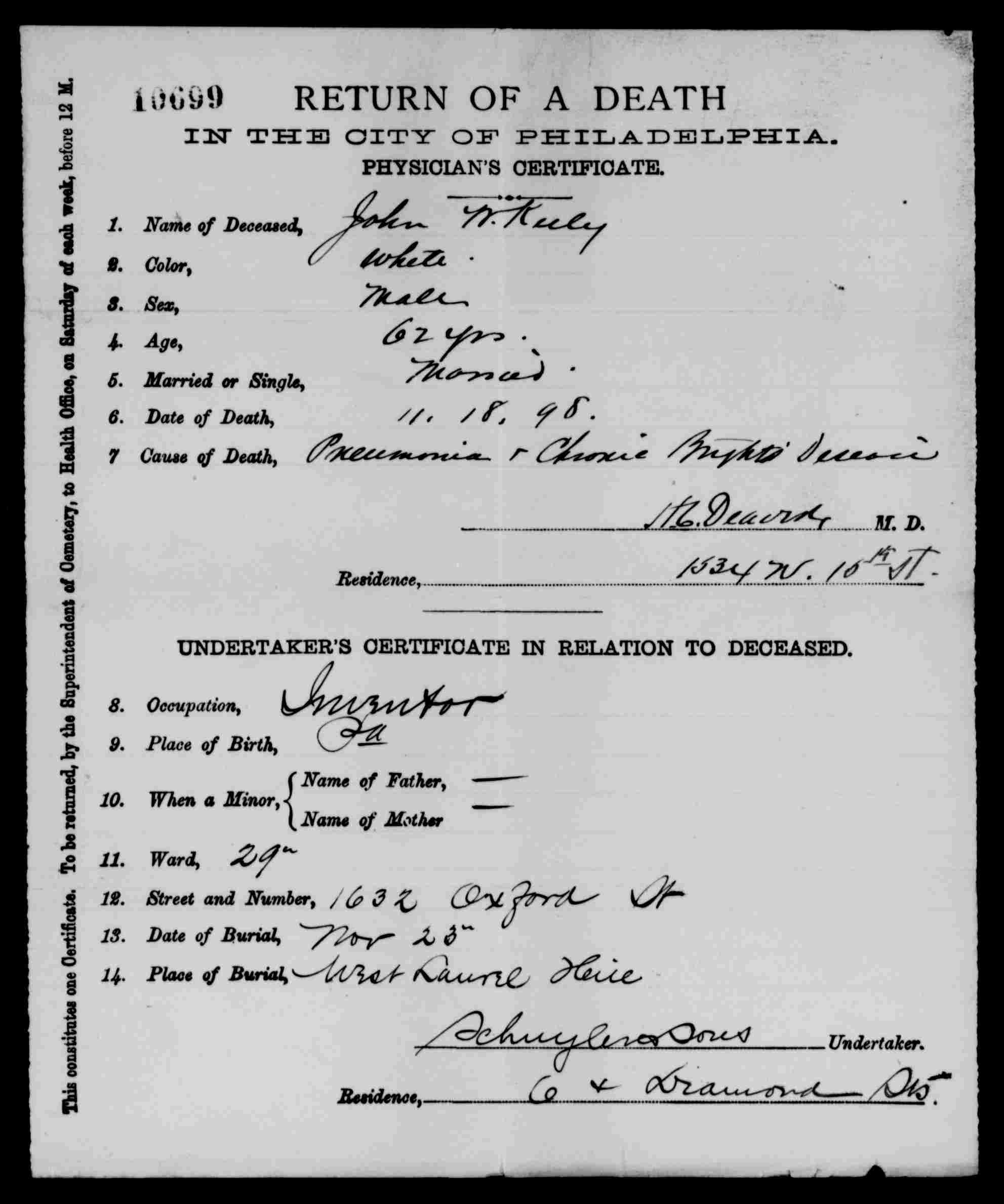 John W. Keely Death Certificate