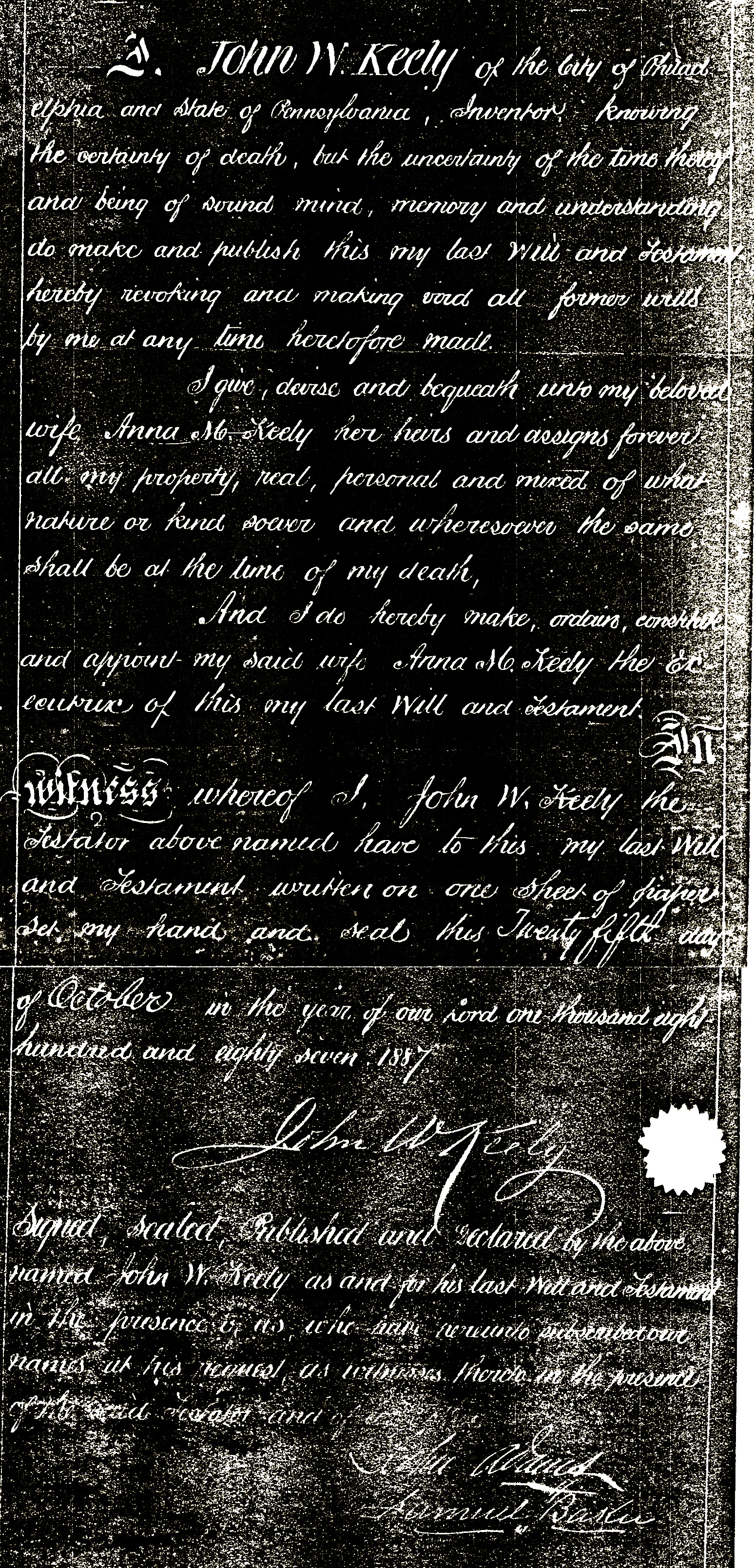 John W Keely's Last Will and Testament